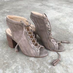 Taupe fringe wedge sandals